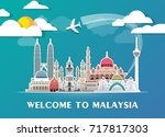 Malaysia Landmark Global Travel And Journey paper background. Vector Design Template.used for your advertisement, book, banner, template, travel business or presentation | Shutterstock vector #717817303