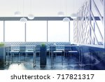 gray cafe interior with loft... | Shutterstock . vector #717821317