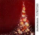 Abstract Christmas Tree On Red...