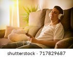 teenager relaxed and pensive... | Shutterstock . vector #717829687