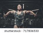 brutal handsome caucasian... | Shutterstock . vector #717836533