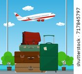 traveler's baggage against the... | Shutterstock .eps vector #717845797