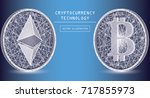 bitcoin and ethereum digital... | Shutterstock .eps vector #717855973