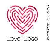 red heart and fingerprint or... | Shutterstock .eps vector #717856927