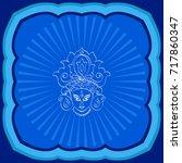 durga goddess of power vector...   Shutterstock .eps vector #717860347