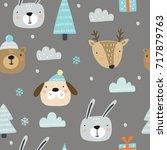 christmas print  hand drawn... | Shutterstock .eps vector #717879763