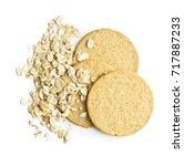 tasty oatmeal cookies and oat... | Shutterstock . vector #717887233
