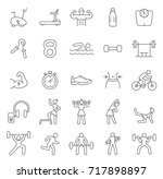 gym line icons set.vector | Shutterstock .eps vector #717898897