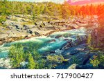 mountain river in evening.... | Shutterstock . vector #717900427