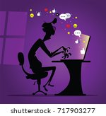 dude sitting alone in the dark... | Shutterstock .eps vector #717903277