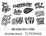 coffee vector lettering icons... | Shutterstock .eps vector #717929443