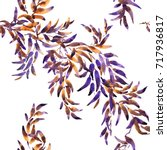 blue and purple leaves ornament ... | Shutterstock . vector #717936817