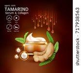 tamarind serum or collagen and... | Shutterstock .eps vector #717938563