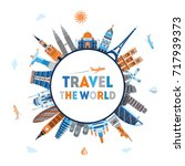 travel and tourism background.... | Shutterstock .eps vector #717939373