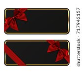 two black banners. gift card... | Shutterstock . vector #717942157