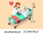 senior patient in hospital bed. ... | Shutterstock . vector #717947917