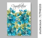 hibiscus blue floral elegant... | Shutterstock .eps vector #717948103