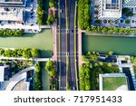 aerial view road roundabout... | Shutterstock . vector #717951433