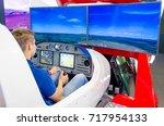 simulator of a passenger... | Shutterstock . vector #717954133