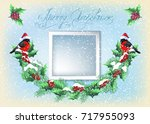 christmas card with photo frame ... | Shutterstock . vector #717955093