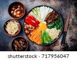 bibimbap  traditional korean...   Shutterstock . vector #717956047
