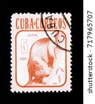 Small photo of MOSCOW, RUSSIA - SEPTEMBER 3, 2017: A stamp printed in Cuba shows Agouti (Dasyprocta aguti), Animals serie, circa 1981
