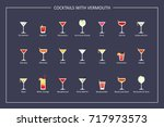 cocktails with vermouth guide ... | Shutterstock .eps vector #717973573