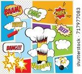 vector comic book explosion... | Shutterstock .eps vector #717977083