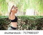 fitness sport girl in the... | Shutterstock . vector #717980107