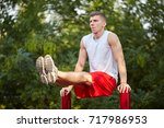 full length of strong athlete... | Shutterstock . vector #717986953