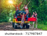 group of happy asian young... | Shutterstock . vector #717987847