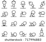 set of cartoon simple line... | Shutterstock .eps vector #717996883
