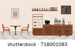 empty cafe interior. flat... | Shutterstock .eps vector #718001083