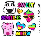 Stock vector set of cute stickers and different elements with watermelon strawberry panda cat heart and 718001647