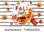 autumn sale flyer template with ... | Shutterstock .eps vector #718003333