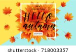 autumn sale flyer template with ...   Shutterstock .eps vector #718003357