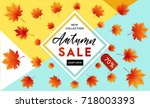 autumn sale flyer template with ...   Shutterstock .eps vector #718003393