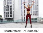 fitness sporty woman during... | Shutterstock . vector #718006507
