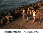 top view of group of fitness... | Shutterstock . vector #718008493