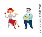 french people  characters... | Shutterstock .eps vector #718012303