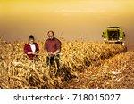 corn field at harvesting time...   Shutterstock . vector #718015027
