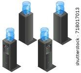 vector isometric office water... | Shutterstock .eps vector #718017013