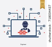 engineer sign and computer... | Shutterstock .eps vector #718034437