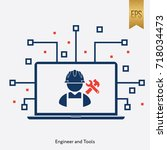 engineer tools sign and... | Shutterstock .eps vector #718034473
