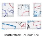 set of post stamps postage... | Shutterstock .eps vector #718034773