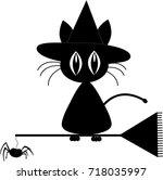 black silhouette of cute black... | Shutterstock .eps vector #718035997