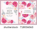 vintage wedding invitation | Shutterstock .eps vector #718036063