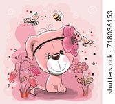 two cute dogs with flowers on a ... | Shutterstock .eps vector #718036153