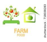 logo tree. logo of the house.... | Shutterstock .eps vector #718038283