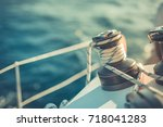 winch on a sailboat while... | Shutterstock . vector #718041283